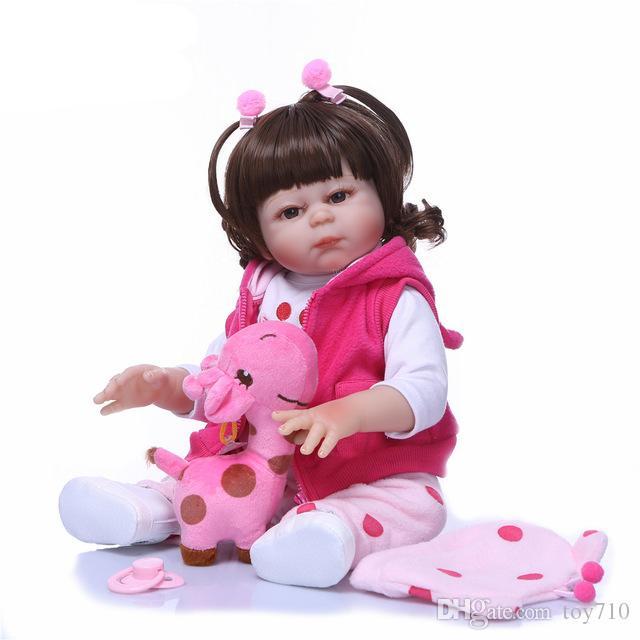 Real 48CM Full Body SIlicone Girl Reborn Babies Doll Lifelike Newborn Princess Bebe Girl Doll Toys Playmate for Children