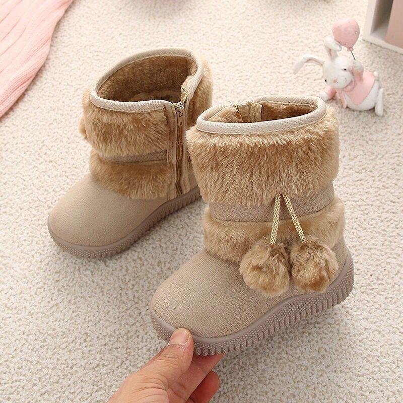 Bebek Kız Kar Boots Sıcak Peluş Bebek Boys Boot Orta buzağı Süet Moda Kaymaz Ayakkabı için yeni Rusya Kürk Çocuk Kış Boots