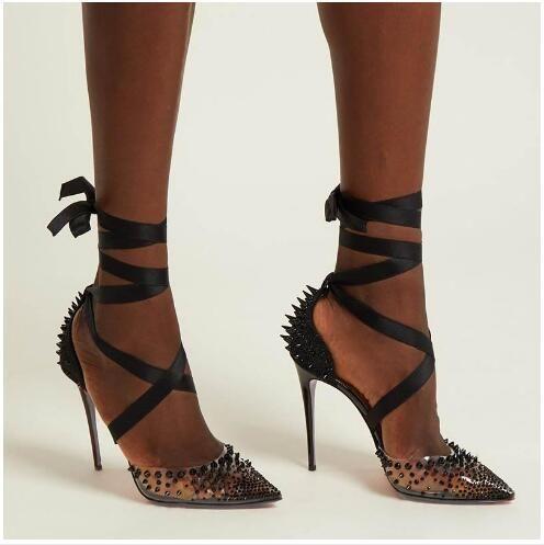 2019 новые женские красные туфли на шпильке, прозрачные туфли на заклепках, стильная сексуальная черная лента, обернутая вокруг ног, сандалии для вечеринок и свадьбы