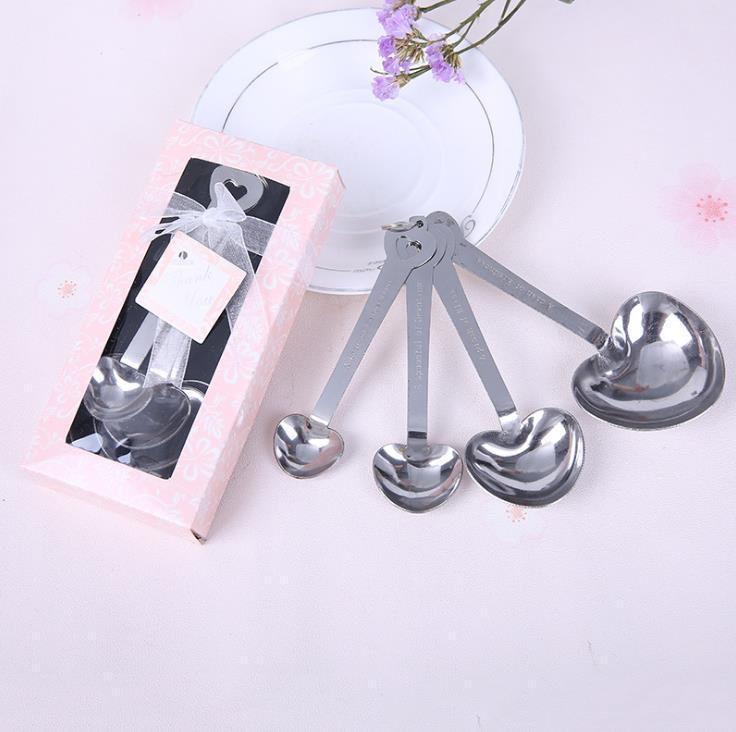 Fête de mariage Cadeaux Heart Shaped cuillères à mesurer dans la belle fournitures giveaway souvenir de mariage paquet cadeau SN399