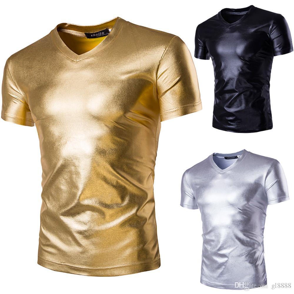 2019 nouveau style de mode hommes chauds garçons Slim Fit col en V manches courtes brillant Tee T-shirt solide Casual Tops