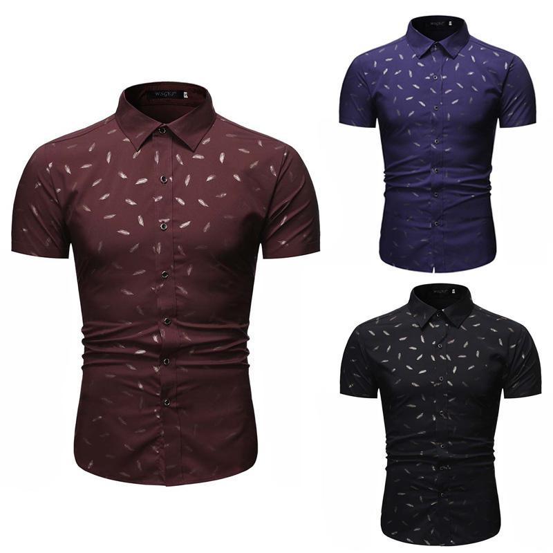 Stampa camice shirt da Uomo Slim Fit manica corta Per Uomo Large Size Abbigliamento casual comodo collare moda risvolti S-2XL