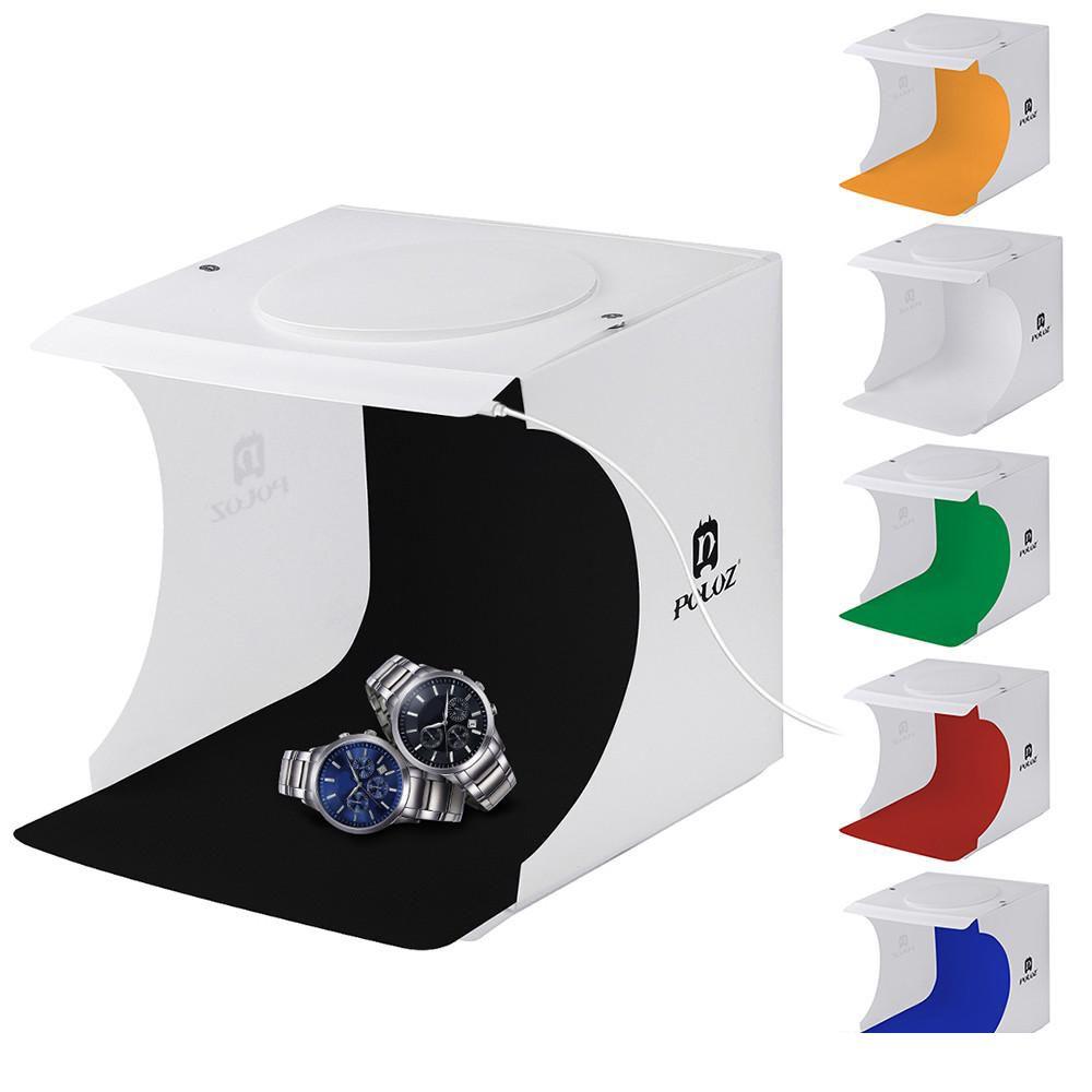 Mini Photo Studio Fotografia Caixa de Fundo Built-in Box Photo Light itens pouco Fotografia Box Estúdio Luz Stands Booms transporte livre