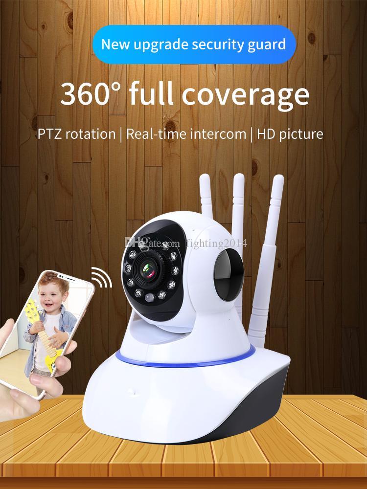 La cámara de WiFi cámara IP HD 720P Seguridad para el Hogar cámara Antena 3 Mejora de la señal inalámbrica de dos vías de audio visión nocturna por infrarrojos inteligente de CCTV