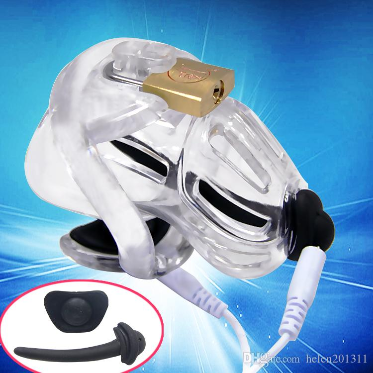 Male Electric Chastity Device with Embedded Modular Design Brass Padlock A370-1