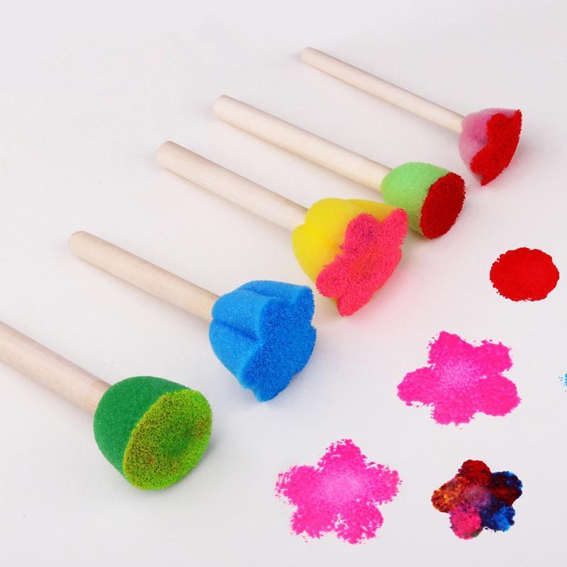 5 قطع balleenshiny الإبداعية الإسفنج فرشاة الأطفال الفن diy أدوات الرسم الطفل مضحك ملون زهرة نمط الرسم لعب هدية
