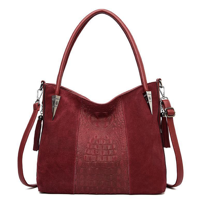 Big casual tote shoulder bag female suede women's handbag leather tassel Large red black green ladies hand bags for women 2019