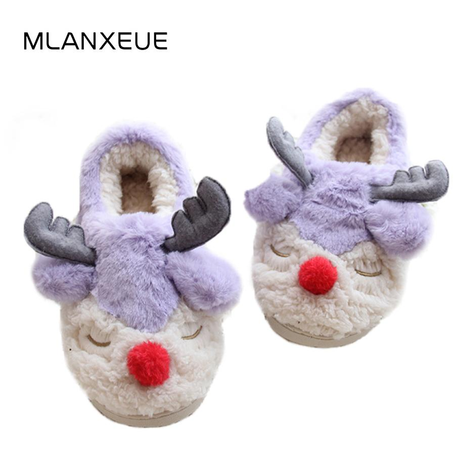 Christmas Fawn Plush Slippers Cartoon Animal Lady Home Slippers Korean Style Plush Female Shoes Women Warm