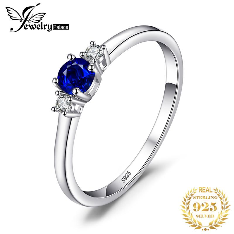 Blue Sapphire Ring,S925 cz Sapphire Ring,CZ engagement ring Silver 925 Lab created Blue Sapphire and white CZ engagement Ring for Women