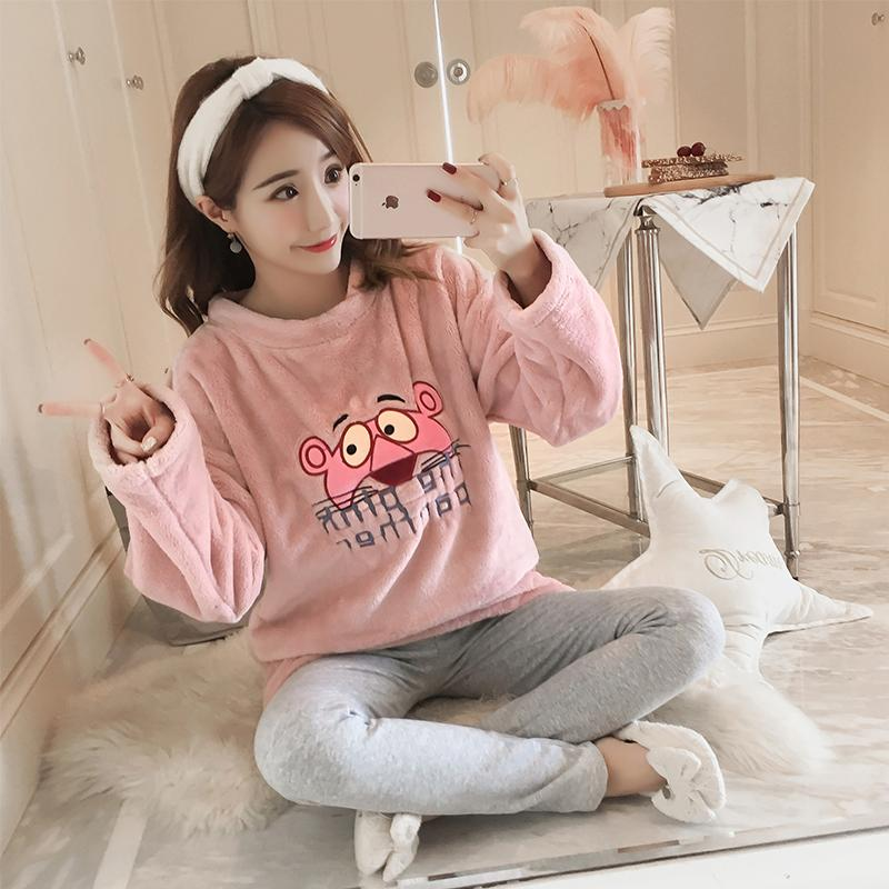 JRMISSLI além de pijama de tamanho definido Inverno Mulheres Pijamas Grosso Pijamas Feminino Aqueça Coral flanela Pijama Mujer rosa flanela homewear