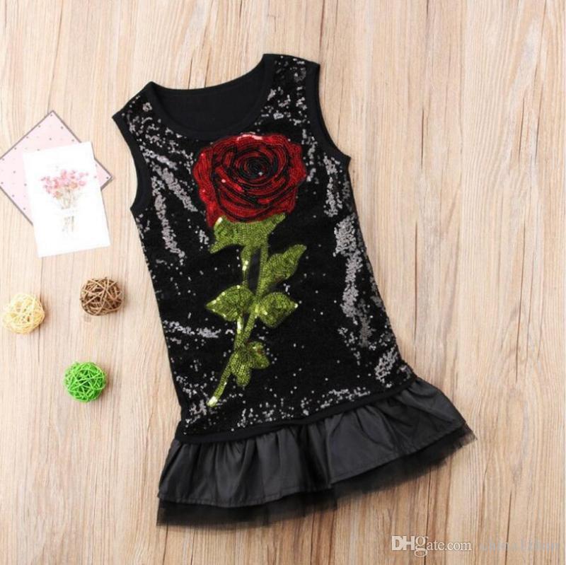 Bebés Meninas Vestido de lantejoulas Rose Princesa Vest Vestidos sem mangas Mini Saias de verão Roupa Crianças Boutique Kids Clothing DHW2208