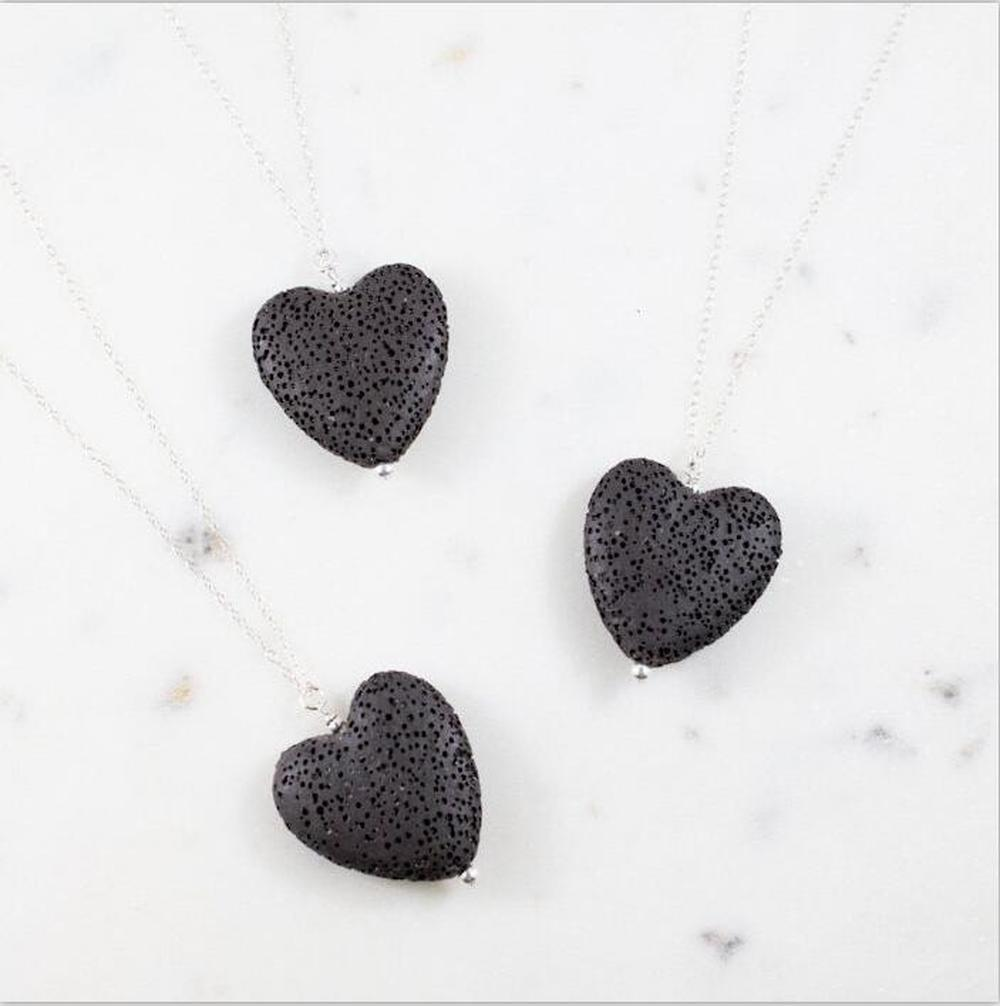 Fashion Love Heart Essential Oil Diffuser Necklace Aromatherapy Jewelry Black Lava Stone Long Chains Necklaces