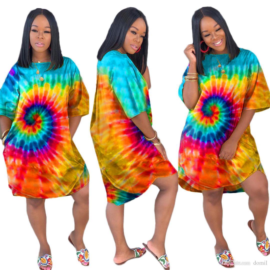 넥타이 염료 인쇄 여성 드레스 새로운 O-목 전체 소매 무릎 길이 드레스 패션 캐주얼 느슨한 밤 드레스 Vestidos 편안한 잠옷