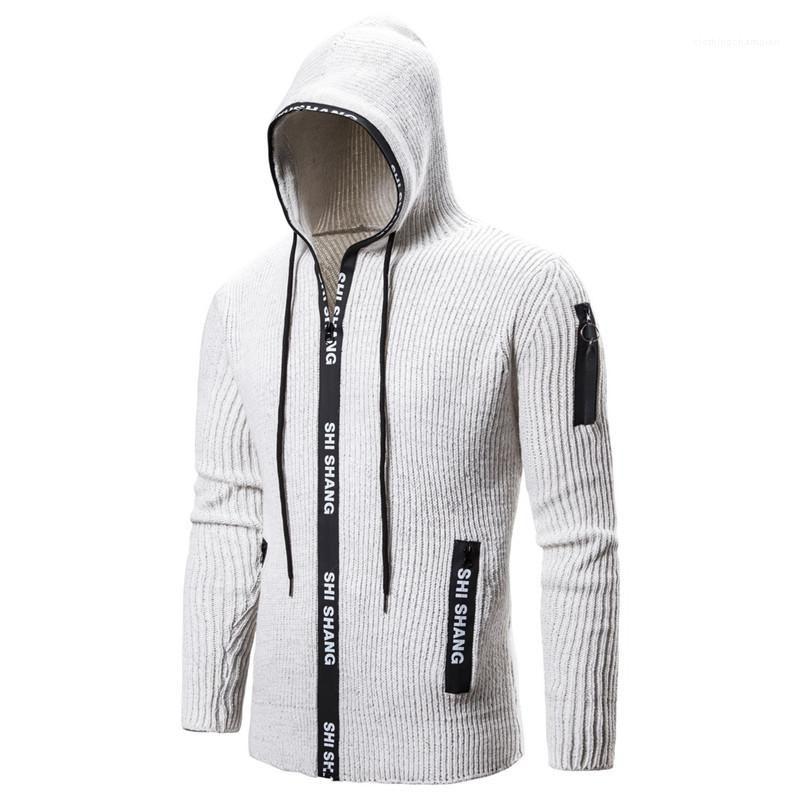 Imprimer Hommes Pull Designer Fashion Slim Hommes Zipper Cardigan à capuche Pull poches hommes Lettre Vêtements