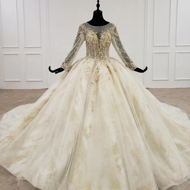 Vestiti Da Sposa We Heart It.2020 Plus Size Wedding Dresses Bridal Gowns O Neck Long Sleeve