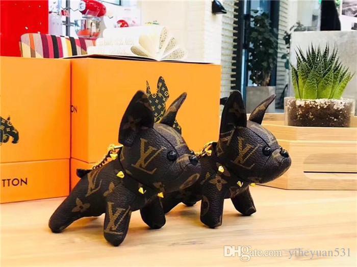 Venta caliente de lujo Titular elegante encanto del perro llavero llavero elegante de la PU de la corteza tecla NO CAJA