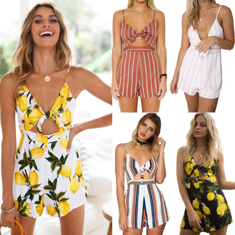 4-color Sexy Stripe Print Playsuit Women Sex Strapless Jumpsuit Dew Belly Playsuit Backless Shirt Short Pants 2020 New