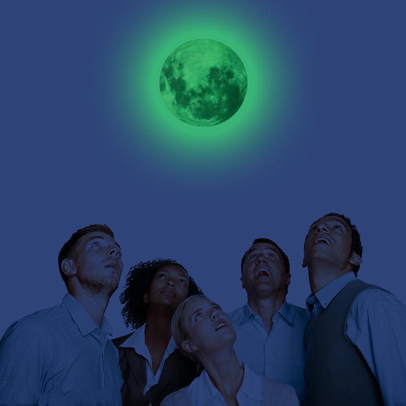 30см Luminous Moon Glow наклейки Земля Вселенная Планета Флуоресцентные наклейки стены в темноте DIY Детская Спальня Deco товары