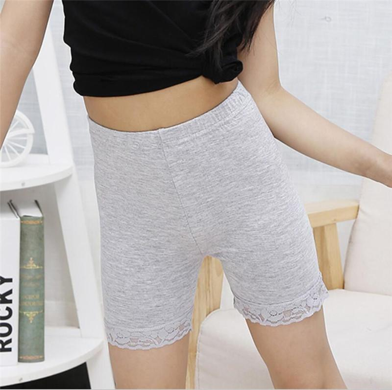 HK Women Solid Color High Waist Safety Shorts Pants Lace Patchwork Underwear Co