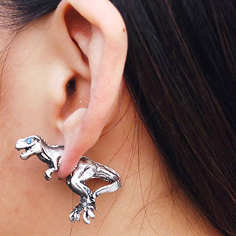 Moda Harajuku aleación estereoscópica Dragon Dinosaur piercing aretes stud Ear Clip joyería de declaración mujeres hombres joyería punk