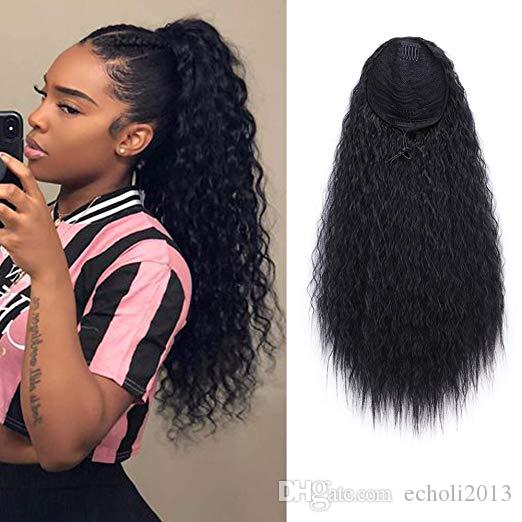 Loose wavy long high brazilian drawstring ponytail extension for black women clip in natural black 1b 140g
