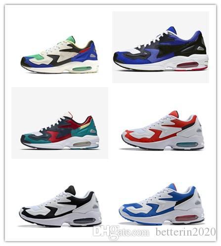 2019 Yeni Gelenler Max2s Işık OG Erkekler Koşu ayakkabı Airs lacivert Beyaz kırmızı Erkek Tasarımcı Sneakers Eğitmenler Zapatos spor ayakkabı Boyutu 40-46