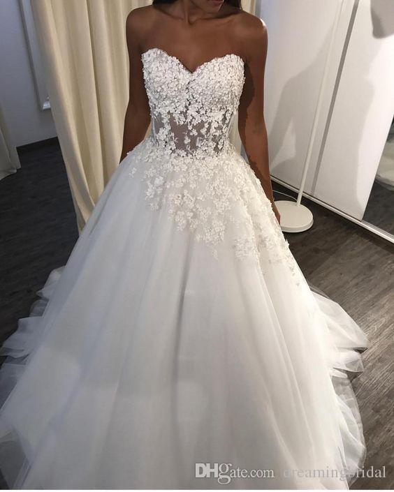 Einfache lange Hochzeitskleid Brautkleider 2019 Neue ärmellose Bodenlangen Schatz Spitze Applique Hochzeit Gastkleid Sonderansicht