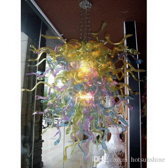 Multi Colored Murano Glass Chihuly Chandelier Livingroom Decor Hand Blown Glass LED Blubs Pendant Lamps for Sale