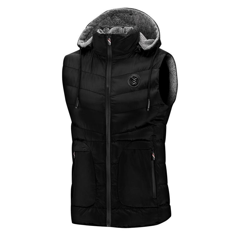 XWZ5 adatta giù gilet caldo gilet da uomo senza maniche casuale maglia di inverno maschio giacca cappuccio staccabile Uomo