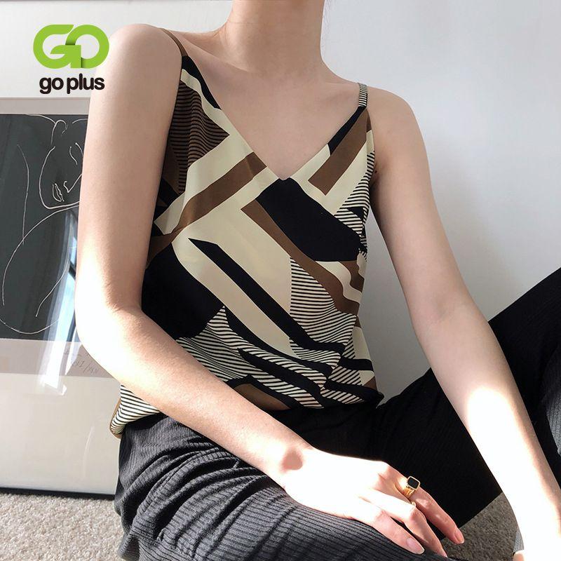 GOPLUS Yaz Üst Kadınlar Kore Stil Geometrik V-nevk Kolsuz Kadınlar 2020 Giyim Ropa Mujer VETEMENT Femme Tops