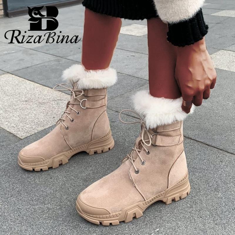 RizaBina натуральная кожа Мода Женщины ботильоны Keep Warm Круглый Toe Flats снега сапоги Плюшевые меховые ботинки женщин Размер 35-39