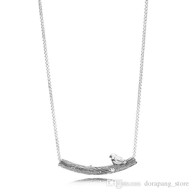 100% 925 Sterlingsilber-Herz-Form-Blumen-Schmetterling Phoenix Federn Halskette für Frauen Ursprünglicher Mode Schmuck Geschenk achtzehn