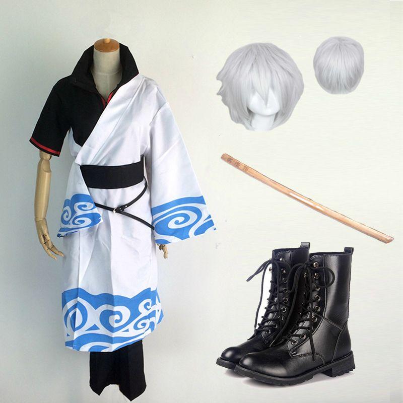 Cosplay per Gintama Sakata Gintoki uniforme con parrucche Cudgel Dress Jaqueta Masculina Vestiti Anime del costume di Halloween per adulti MenMX190921