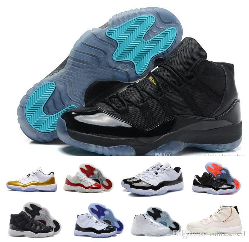 Novas 11s tênis de basquete Gamma azul Concord Space Jam Bred Legend alta Mulheres Mens Low 2019 barato do desenhador 11 calça as sapatilhas com caixa
