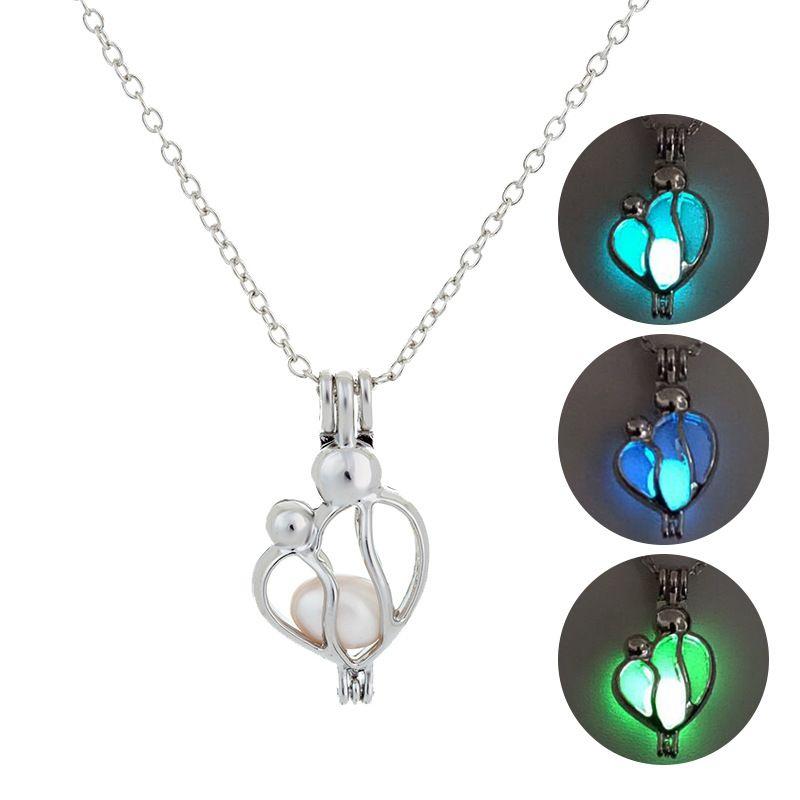Nuevo Luminoso Collar colgante de la madre y el niño Brilla en la oscuridad Abra la jaula Cadenas del encanto del medallón Para las mujeres Joyería del día de madre