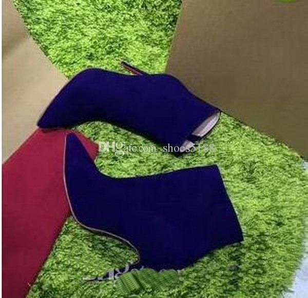 Paris Wildleder Kurze Frauen Winter Stiefel hochhackigen Reißverschluss Rivet Pumps Günstige Violet Luxuriöse Marke Stiefel Free Shping Stiefeletten