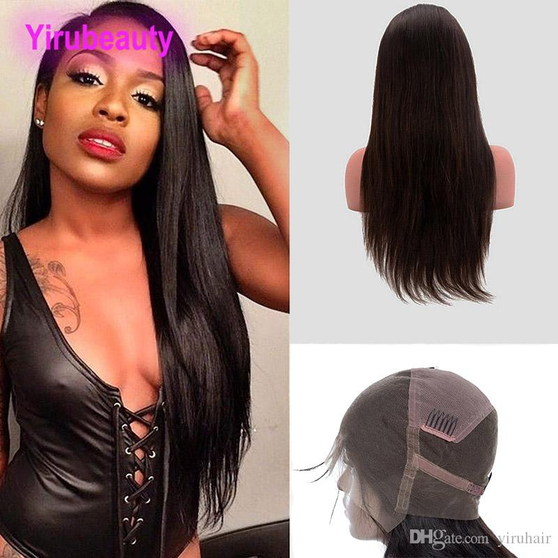Malaysian Raw Human Hair 8-34 Inch Full Lace Wigs Straight Virgin Hair Wigs Natural Color Silky Straight Full Lace Wigs