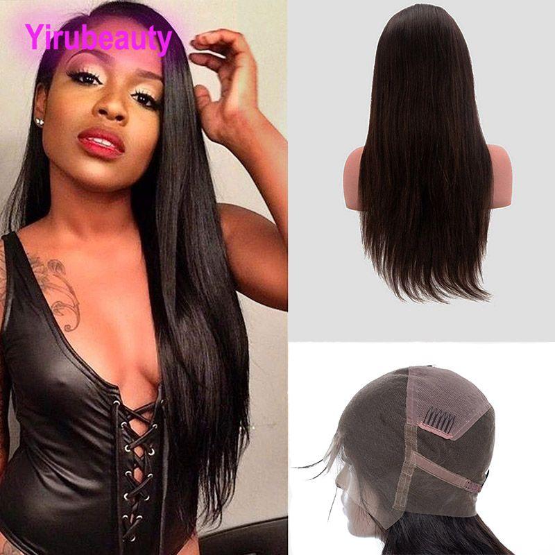 Малайзийские сырые человеческие волосы 8-34 дюйма полные кружевные парики прямые парики волос девственников натуральный цвет шелковистые прямые полные кружевные парики