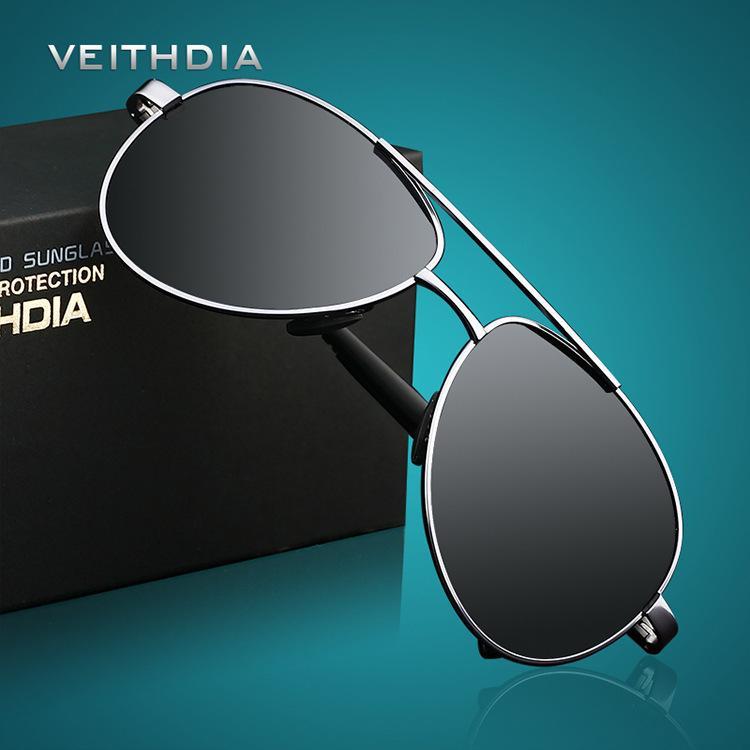 2018 VEITHDIA UV400 Pilota Yurt Occhiali da sole Uomo Occhiali da sole polarizzati Marchio del marchio Design Driving Occhiali Occhiali Oculos de sol 1306