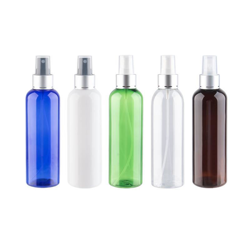 Plastic névoa pulverizador Bomba Frasco Com Prata alumínio Bomba Collar Spray de Perfume Bottle 200cc 200ml Garrafa palstic recipientes PET