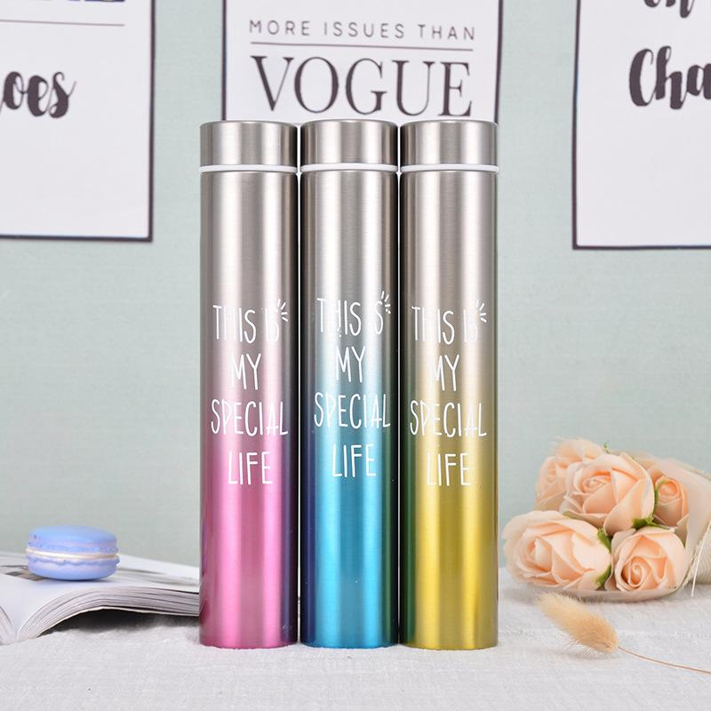 Garrafa delgada longa design fino duplo camada de aço inoxidável copo de vácuo garrafa térmica jarro thermos garrafa thermos copo vt0141