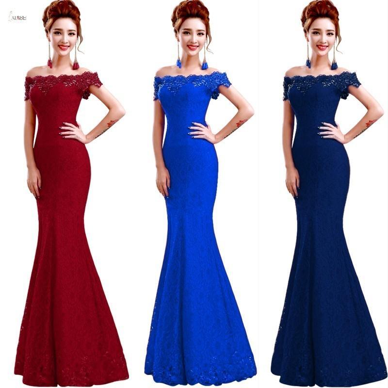 Robes de demoiselle d'honneur longues 2019 Elegant De L'epaule Sans Manches En Dentelle De Sirene Robe De Soirée De Robe Robe Demoiselle D'honneur Y19072901