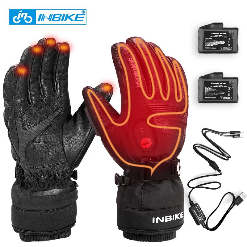 Rechargeable Electric Heated Gloves Motorcycle Winter Waterproof Genuine Leather