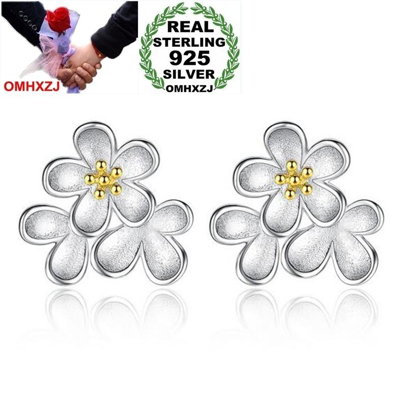 OMHXZJ Wholesale Sweet Lovely Fashion Wild For Woman Girl Wedding golden Sunflower Daisy 925 Sterling Silver Stud Earrings YS420