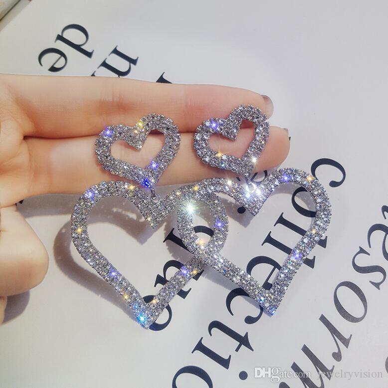 S964 حار الأزياء والمجوهرات S925 الإبرة الفضية الماس مزدوجة الحب حلق من rhinstone الخوخ القلب حلق