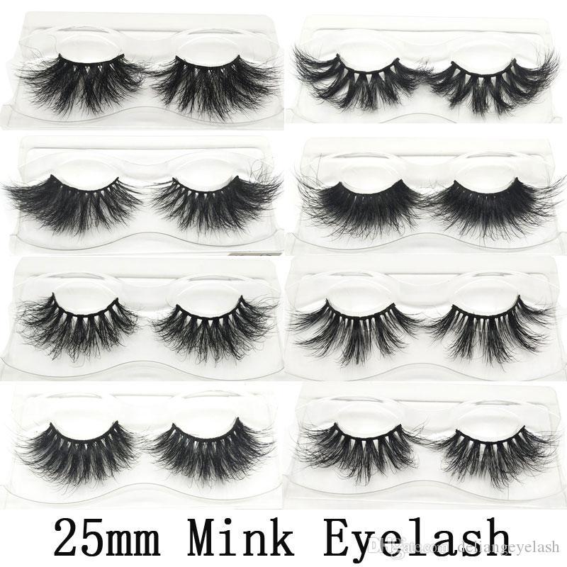 Mink cheveux Faux cils 25 mm Cils Variété personnalisable souple confortable naturel épais et long usine gros Livraison 3D 5D 6D Ha