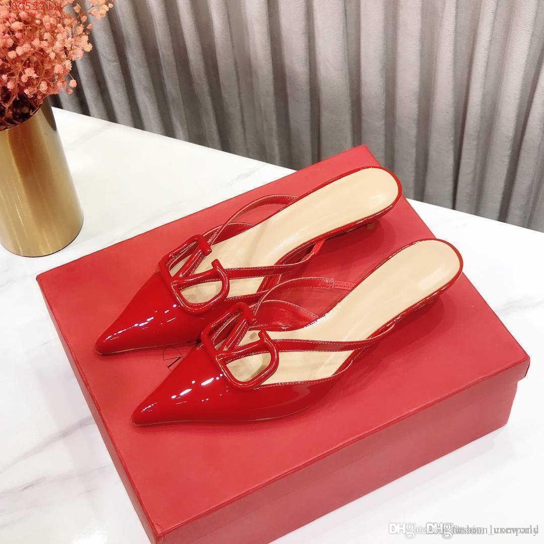 nuova usura antiscivolo - pantofole resistenti in bianco e nero e rosa rossa sandali a punta e ciabatte per le signore del tallone altezza 4,5 centimetri
