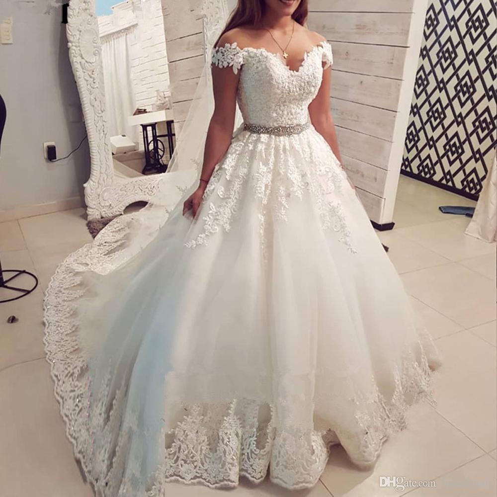 Al Largo Della Spalla Vintage Abiti Da Sposa In Pizzo 2020 Sweetheart Ball Gown Abito Da Sposa Principessa Una Linea Lunga Abiti Da Sposa Vestido De Noiva