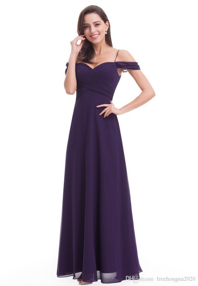 Sexy Noble Halter Qi robes de soirée en mousseline de soie Mot pourpre Robe V-cou longue sangle Robes de mariée