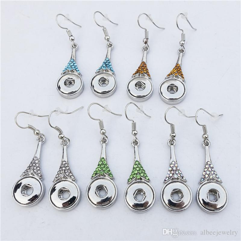 Rhinestone Water Tear Drop Metal Ginger 12mm Snap Buttons Earrings Noosa Chunks Jewelry Mix Colors